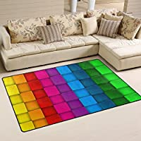 DEYYA Colorful Neon Contrast Rainbow Polyester Area Rugs Non-slip Living Room Carpet Bedroom Rug for Children Play Solid Home Decorator Floor Rug and Carpets 60 x 39 Inch