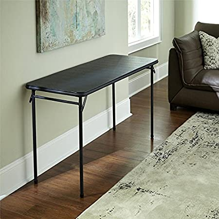 Cosco Products Vinyl Top Folding Table, 20 x 48-Inch, Black Dorel Industries 14341BLK1E