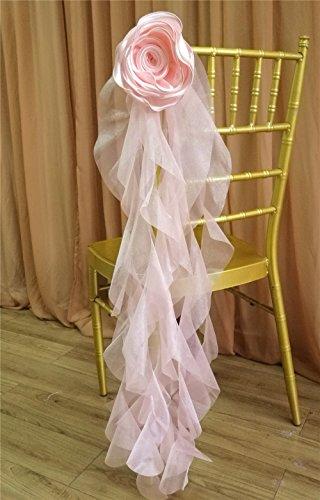 10pcs handmade satin artificial flower organza curly willow sash for chiavari chair back wedding decor cover - Artificial Curly Willow