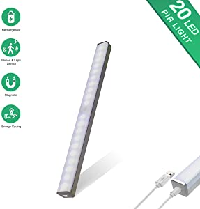 weijie Motion Sensor Closet Lights, Cordless Under Cabinet Lighting, Portable Wireless Night Lamp with 20 LED Bulb, Built-in Magnetic USB Rechargeable Battery Safe Light Bar for Hallway Stair Wardrobe