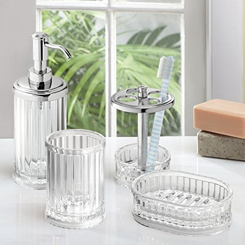 MDesign Acrylic Bath Accessory Set, Soap Dispenser Pump, Toothbrush Holder,  Tumbler, Soap Dish   4 Pieces, Clear/Chrome Home Garden Bathroom Accessories  ...