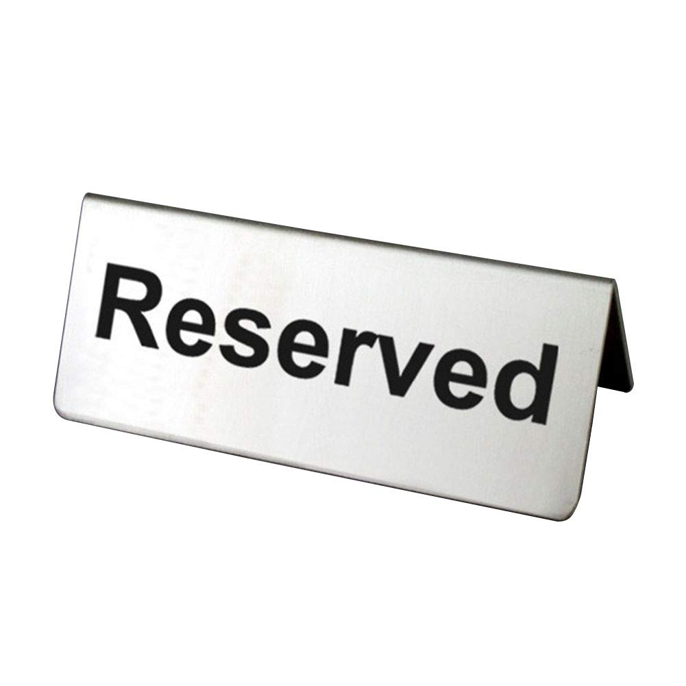 MAYiT Reserved Table Sign, Stainless Steel Table Tent Sign, Double Sided Silver Signs with Black Print for Restaurants, Banquets, and Weddings by MAYiT