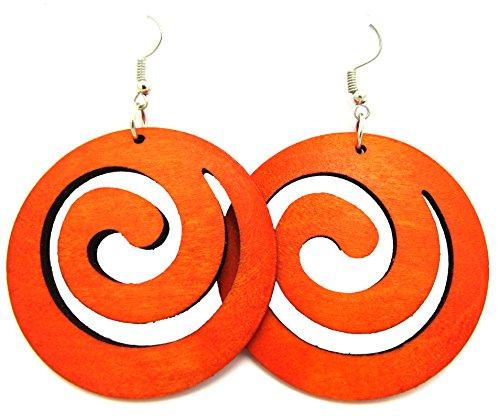 - Wooden Earrings - Round Wood Earrings - Wood Earrings - Rasta Earrings-Wooden Handmade Earrings (Orange Spiral)