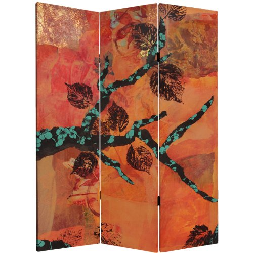 ORIENTAL FURNITURE 5 ft. Tall Rich Autumn Canvas Room (3 Fold Leaf Screen)