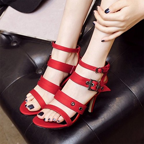 Sexy Women's Stiletto Strappy Heels Red Sandals Aisun High Buckle HwvqPvO