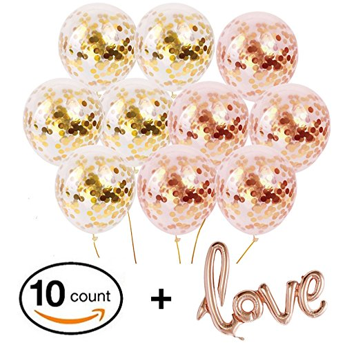 Gold Confetti Balloons - 10 Pack Large 18