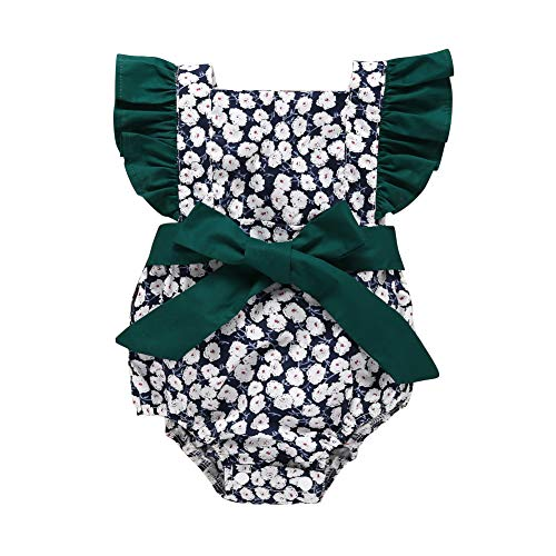 Baby Romper Ruffles Sleeve Bodysuit Floral Print Vintage Bow Tie Sunsuit Clothes in Summer