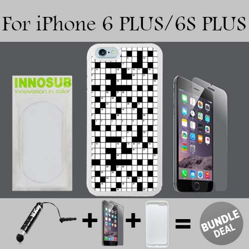 Crossword Puzzle Pattern Custom iPhone 6 PLUS Cases/6S PLUS Cases-White-Rubber,Bundle 3in1 Comes with HD Tempered Glass/Universal Stylus Pen by innosub