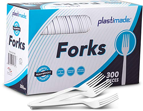 Plastimade Extra Heavyweight White Plastic Disposable Forks. 300 Pack