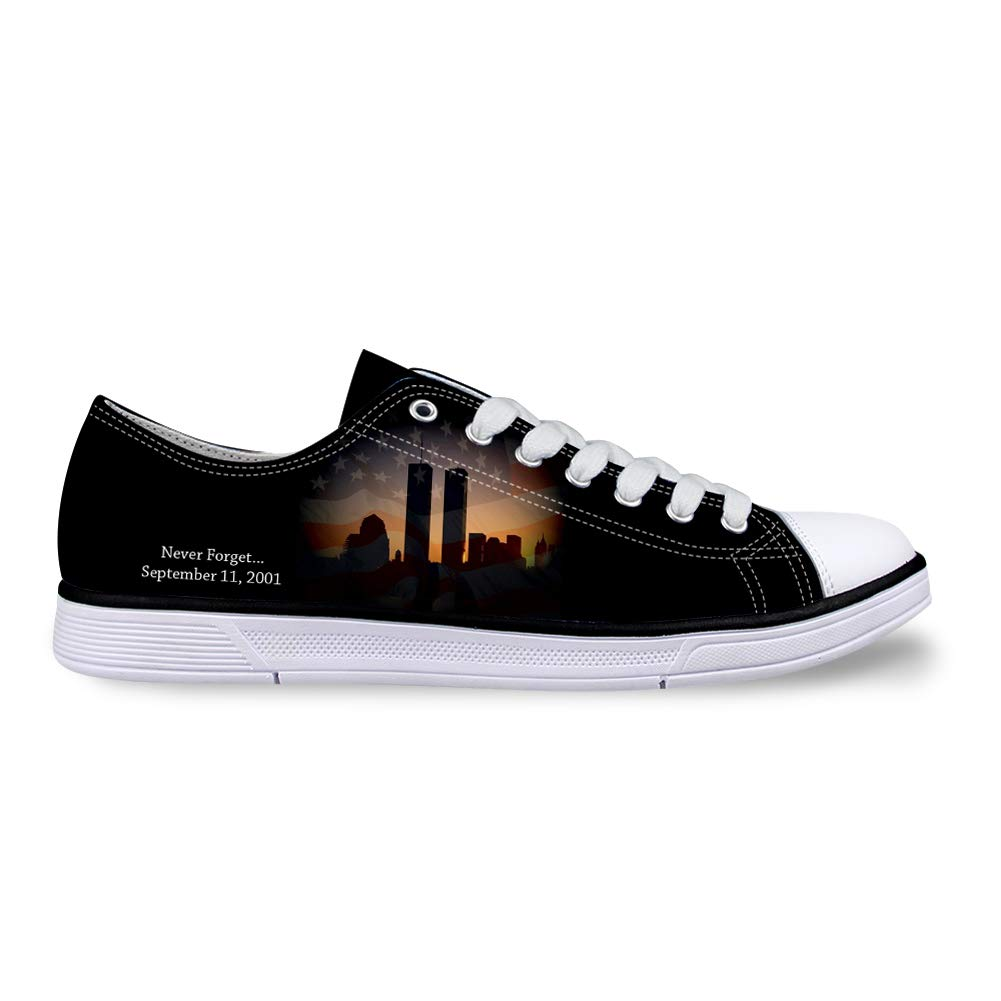 Canvas Low Top Sneaker Casual Skate Shoe Mens Womens American Flag Twin Towers Never Forget 911