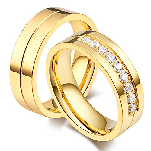LANHI 6MM Stainless Steel Promise Engagement Couple Wedding Bands for Him and Her Women Cubic Zirconia CZ Rings, Gold Size 5