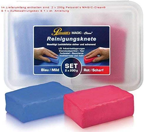 Petzoldt S 2x 200 Gramm Profi Reinigungsknete Magic Clean Blau Und Rot Auto