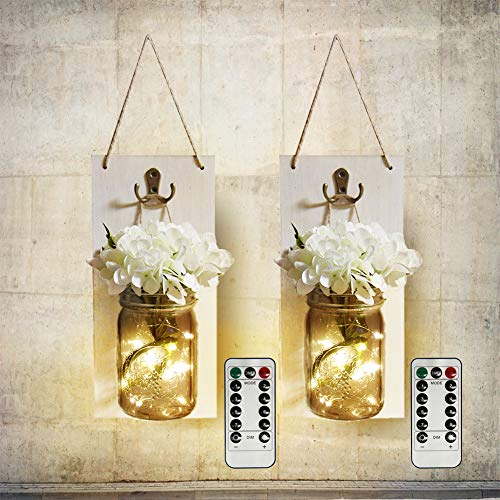 MorTime 2 pcs Waterproof Handcrafted Hanging Glass Mason Jar Sconces Wall Decor with 8 Different Functions LED Lights, Wooden Boards with White Hydrangea and Remote Control (2pc) -