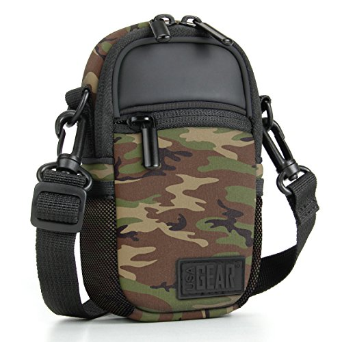 (Compact Camera Case (Camo Green) Point & Shoot Camera Bag with Accessory Pockets, Rain Cover & Shoulder Strap by USA Gear - Works W/Sony CyberShot, Canon PowerShot ELPH, Nikon COOLPIX, Olympus & More)