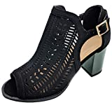 TravelNut Best Fun New Soft Scallop Chunky Heel Mule Perforated Pattern Sandal Shoe for Teen Girl Junior Women (Black Size 8)