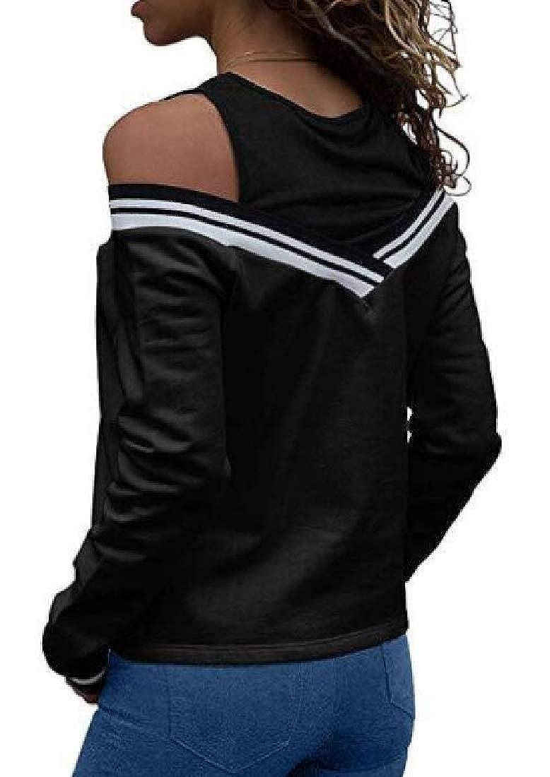 Zantt Women Cold Shoulder Stitching Slim Fit Casual Pullover Sweatshirt Top