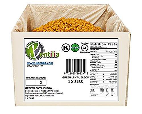 Elbow Nut (Bentilia Gluten-Free Lentil Pasta, Large Green Lentil Elbow Macaroni - 5 lb Bulk Case; 100% Natural, Low Glycemic Index, High Protein & Fiber, Non-GMO, Kosher Pasta)