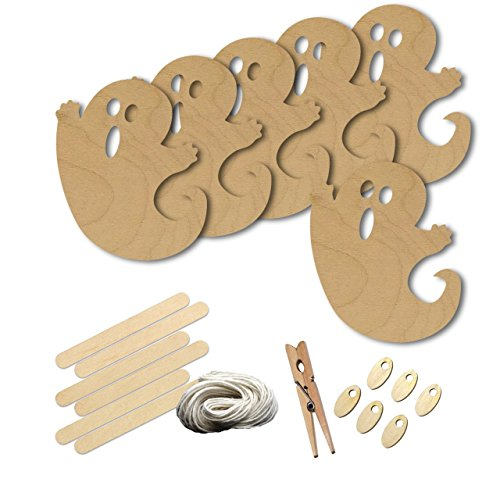 Cute Halloween Ghost Halloween Style 1587 , Wood Shape Craft Kit, 4 Inch Size Kids Project Kit, Great Party, School and DIY
