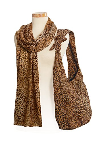 Leopard Shoulder Bag and Sheer Scarf Animal Print - Hobo Animal Print