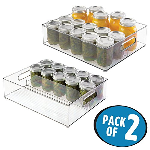 Fruit Storage Jar (mDesign Half Pint Mason Jar Organizer for Canned Goods, Sauces, Vegetables, Fruits in Kitchen Pantry- Pack of 2, Clear)