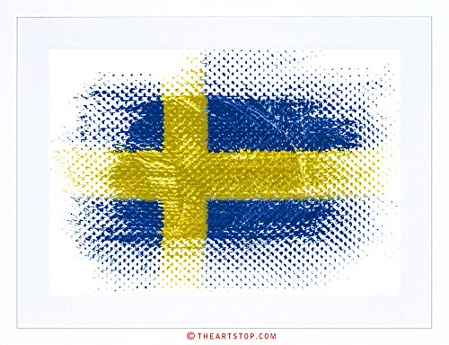 Swedish Flag Framed (FLAG NATIONAL SWEDISH SWEDEN GRUNGE ILLUSTRATION FRAMED PRINT F12X6508)