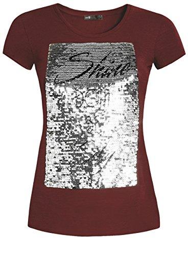 oodji Ultra Mujer Camiseta con Lentejuelas Rojo (4991P)