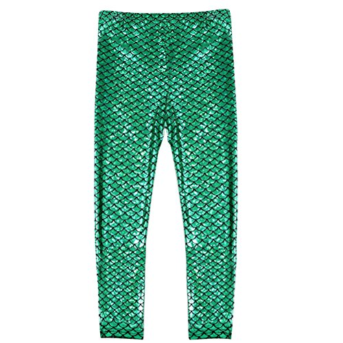 Frogwill Little Girls Mermaid Scale Leggings Fish Pants 5-6 Years Green]()