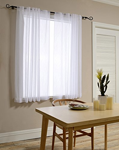 Mysky Home Back Tab and Rod Pocket Window Crushed Sheer Curtains for Bedroom, White, 51 x 63 inch, (Set of 2 Crinkle Sheer Curtain Panels)