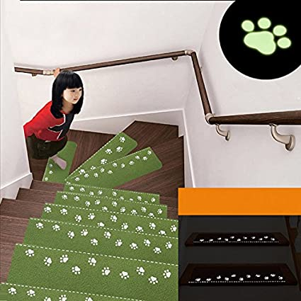 Generic Beige : Luminous Stair Mat Step Pad Keep Warm Floor Mat Easy Clean Stairs Door Mat Anti-skid Mats Avoid Glue Autohesion Rug Carpet V3816