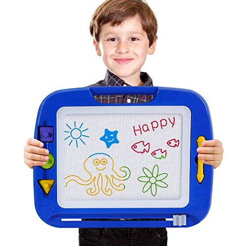 Toch Magnetic Drawing Board, Colorful Doodle Board Erasable Drawing Gift for Kids Boy Girl, Blue