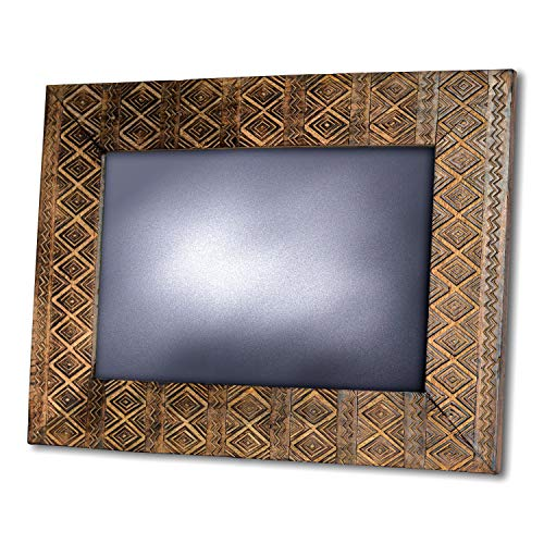 (Naturally Modern Wall Mirror, Artisan Carved, Rustic, Incised Tribal Pattern, Solid Wood, Clear Stain, Sustainable Natural Mango, Over 2 Ft (18 L x 24 1/2 Inches) Diamond and Zig-Zag Details)