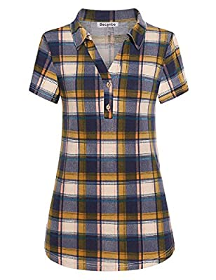 Becanbe Women's Lapel Collared Short Sleeve Casual Loose Polo Plaid Shirt