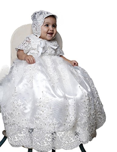 - BuyBro Baby Girls Christening Gown Lace Beading Baptism Dress With Hat (4-6 Months, White)