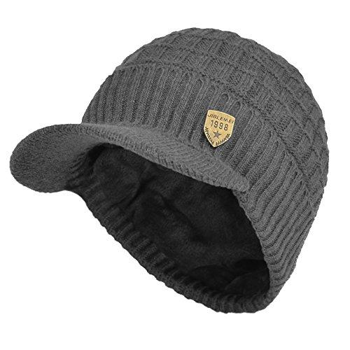 Janey&Rubbins Daily Knit Visor Brim Beanie Hat Fleece Lined Skull Ski Cap (Gray-SV)