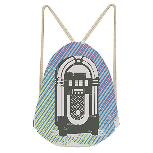 Jukebox,Radio Party Dark Grey Vintage Music Box with Abstract Grunge Colorful Stripes Image Gym Drawstring Unisex Drawstring Bag Simple Drawing Quick Dry Backpack Bag