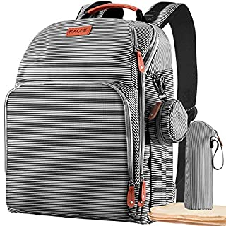 Diaper Bag Backpack, Kaome Large Multifunction Nappy Changing Bag, Waterproof Durable Maternity Travel Back Pack, Stylish Baby Bags for Boy with Diaper Pad Bottle Bag