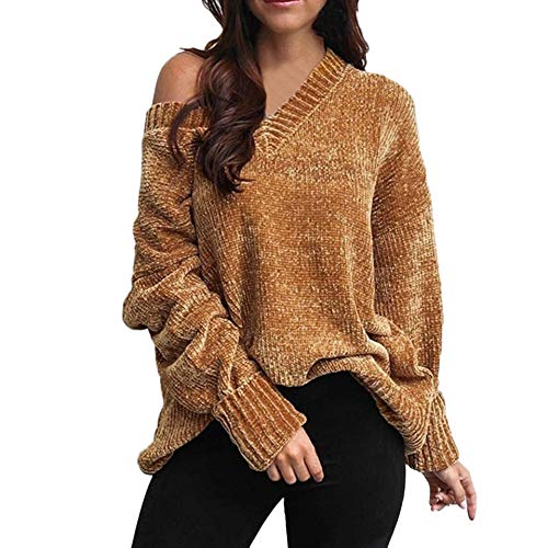 - DEATU Sale Womens V-Neck Knit Tops Long Sleeve Sweatshirt Pullover One Shoulder Solid Blouse Sweater(Khaki,Large