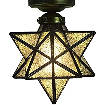 Crystal Flush Mount Moravian Star Ceiling Light Shade with