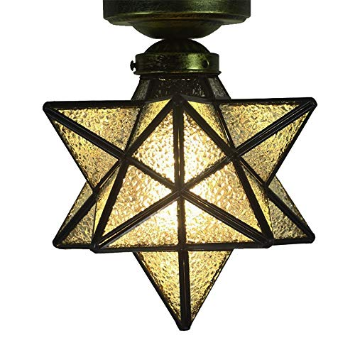 Crystal Flush Mount Moravian Star Ceiling Light Shade with E26 Bulb 8'' Close To Ceiling Light Fixtures for Indoor Restaurant Cafe Loft Bar Living Study Room Corridor Aisle (20cm) ()