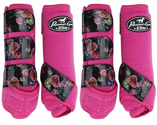 PROFESSIONALS CHOICE ♦ VENTECH ELITE EQUINE SPORTS MEDICINE BOOTS SET OF 4 ♦ ALL SIZES & COLORS (Rose Raspberry, Medium)