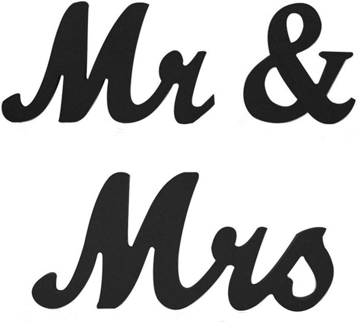 senover Mr and Mrs Sign Wedding Sweetheart Table Decorations,Mr and Mrs Letters Decorative Letters for Wedding Photo Props Party Banner Decoration,Wedding Shower Gift (Black)