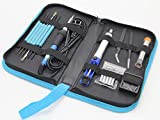 Soldertek Soldering Kit, Small Portable Electric 60W Soldering Iron Kit Adjustable Temperature Welding Gun Set Solder Tools Tips Desoldering Pump Tin Wire Stand Sponge Station (17-Piece) (Blue)