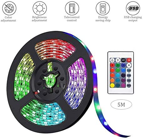 Room LAYOPO Led Strip Lights,16.4Ft Waterproof RGB Light Strips Kits with Remote Control for Home Bedroom TV,Kitchen,Party,Color Changing Led Strip SMD3528 with 3M Adhesive and Clips