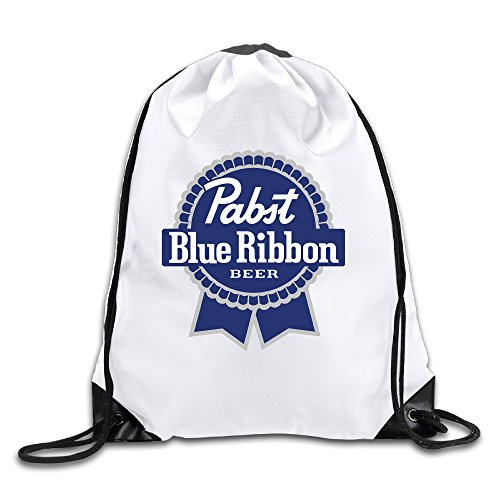 Pabst Blue Ribbon Logo 100% Polyester Fiber Drawstring Travel Bag One Size