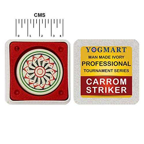 Yogmart Professional Carrom Striker Ivory (1 Premium Man Made Ivory Striker with Velvet Case) Professional Practice International Tournament Series - Smooth Surface & Excellent Re-Bounce ()