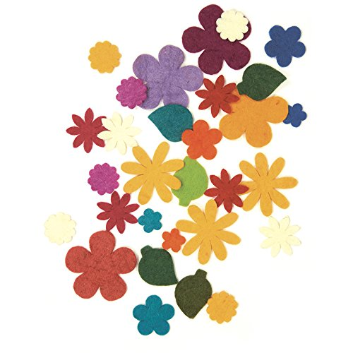 Dimensions Die Cut Felt Flower Assortment Needle Felting Craft Embellishments, 30 pcs ()