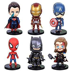 6 Pcs Superhero Action Figures Sets of Batman, Superman, Spiderman, Thor, Ironman, Captain America,PVC Figure Toy Dolls…
