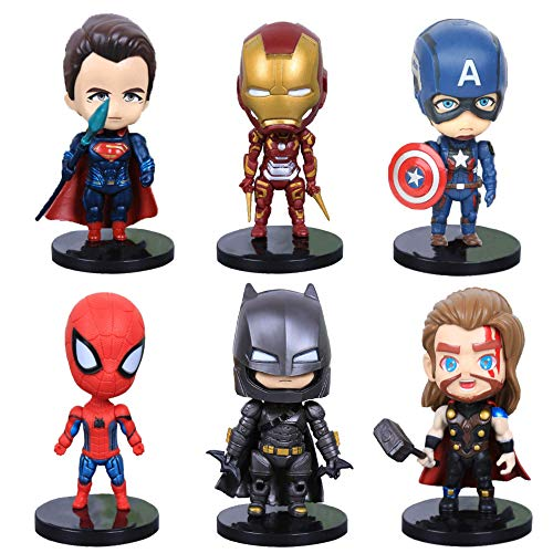 6 Figure Set Titan Super Hero Series Exclusive-Bases,Superheroes Batman,Superman,The Avengers Set Toy with the Spider-man,Iron Man,Captain America,Thor,Mini Action Figures for Birthday Cake Toppers