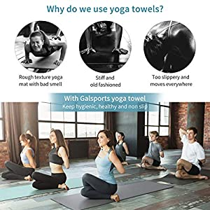 GalSports Non Slip Hot Yoga Towel, Skidless Waffle Texture, 100% Absorbent Odorless Microfiber, Standard Sized 24 inch x 72 inch Mat Towel, Ideal for Hot Yoga, Bikram, Pilates (Gray)