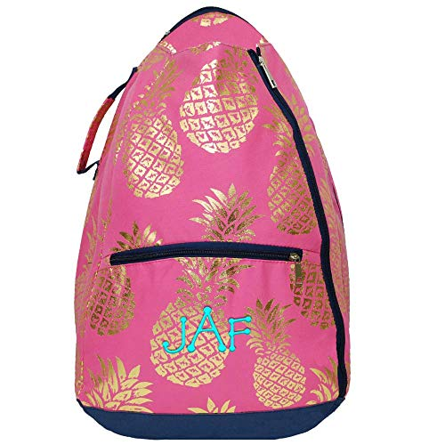 LD Bags Personalized Tennis Racket Backpack Two Racquet Bag (Pineapple)